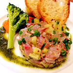 31016471 - 前菜+パスタのセット(2,200円)の前菜:鯵と茄子のタルタル、近影。