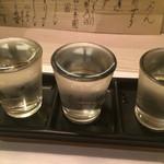 魚菜 ことわ - 日本酒飲み比べセット 1000円