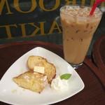 ナガハマコーヒー - ハニーバターのフレンチトーストとアイスのカフェラテ