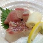魚彩 銀の鯛 - 刺身4種盛り(鯛、まぐろ、かんぱち、烏賊)