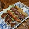 鳥扇 - 料理写真:焼き鳥(しいたけ、鶏、ハツ、つくね)