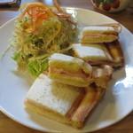 珈琲工房てらまち - ロースハムとチェダーチーズのホットサンド