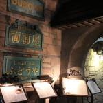 炭焼ステーキハウス 葡萄屋 - 歴史を感じさせる入口の看板