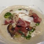 レ セゾン - セープ茸のヴルテ カプチーノ仕立て イベリコ豚の生ハムをあしらって