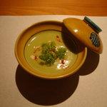 二戀 - 空豆のすり流し 白子豆腐