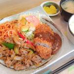 31071944 - 牛肉の風味焼+メンチカツ