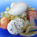 31077282 - 釧路産真ツブ貝とモッツァレラチーズ 焼き茄子のジェラート