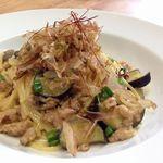 Cafe de Manma - 秋ナスと地鶏そぼろの和風味噌パスタ(八鹿浅黄大豆味噌使用)