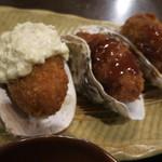 31100525 - カキフライは3個、牡蠣殻の上に乗ってます♪