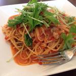 牡蠣のトマトソーススパゲティーニ。