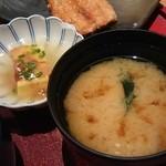 古民家居酒屋 彦べえ - 小鉢と味噌汁