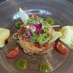 31130608 - 前菜  小海老のカッペリーニ、バルサミコトマトソース