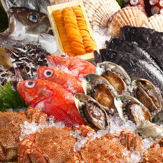 北海道の旨い魚介を毎日仕入れ