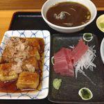 31168256 - 揚げ出し豆腐、まぐろ刺身、あさりみそ汁