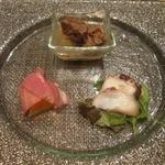 北新地 海櫻 - 「明石蛸、パルマ産生ハム、尾崎牛スジ京都大和路大根の煮込み」と前菜から凄いですね!