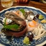 あぶりや食堂 - 秋刀魚と、かわはぎの刺身。