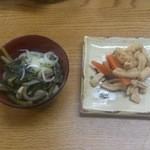 雄川閣 - 最後に出た茶蕎麦と漬物(夕食)