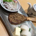 31203070 - 【酒肴三点盛り】焼き味噌・板わさ・鴨ロース