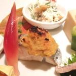 新割烹 丹色 - 【八寸】鰆(すずき)栗味噌焼き