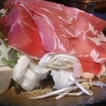しゃぶしゃぶ 松山 - 野菜盛りと牛&豚
