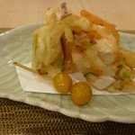 新割烹 丹色 - 季節のかき揚げアップ