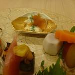新割烹 丹色 - 人参、さつま芋のレモン煮、里芋、インゲン、鰆の栗味噌焼き