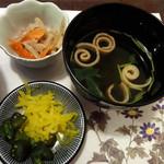鰻屋すみで - 2014/10 小鉢、吸い物、香の物
