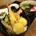 庵 - ランパスメニュー、三種盛り天丼