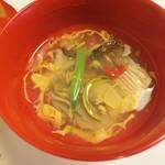 はり清 - (椀物)焼カマス梅肉のせ、マイタケ、インゲン、卵とじ。
