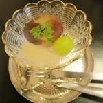 はり清 - (水菓子)梨のコンポート、シャインマスカット、巨峰のゼリー寄せ。