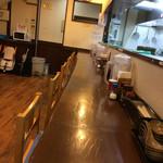 麺屋 たけちゃん - 奥に見えるのがつけ汁を温め直す電子レンジ。セルフサービスです。