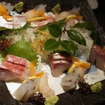 魚菜家 - ハマチ、さより、甘海老、イカ