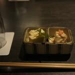 魚菜家 - 鱧の子煮凍り、里芋ゴマクリーム揚げ