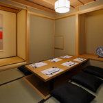 洛 ほととぎす - ゆったりとくつろげる個室。お人数様に応じてご用意させて頂きます