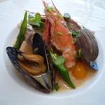 おいしんぼ - 真鯛、天使の海老、ムール貝のブレゼ