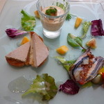 おいしんぼ - 前菜盛り合わせ フォアグラペースト、蟹みそのムース、さんまのテリーヌ