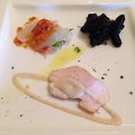 La cucina del Covo - 真鯛カルパッチョ、タコとジャガイモのイカスミ