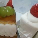 かぶと洋菓子店 - 料理写真:シャインマスカットのショートケーキ(420円)、プリンタルト(460円)H26.10