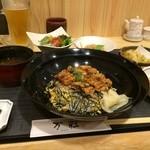万彩 - 今月の特別限定御膳とならば、頼まなきゃね、穴子丼御膳1200円