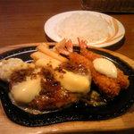 びっくりドンキー - エビフライ&ハンバーグステーキ(942円)+チーズ(105円)とライス(186円)