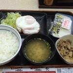 吉野家 - ハムエッグ牛小鉢セット470円