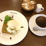 Cafe de 佛蘭西 - シフォンケーキセット 抹茶(飾り付けは一例です)