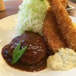 洋食ますだ - ハンバーグ、海老フライ、タラのフライ、野菜サラダ、ポテトサラダ添え(2014.10.8)