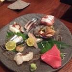 京鴨と燻製酒場 KAMOSHIGIN - お造り盛り合わせ