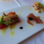 イル・テアトロ - 前菜三種(マグロのカルパッチョ、生ハム、煮た豆類)