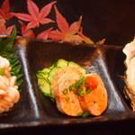 市場食堂 さかなや - 珍味3種盛り「あん肝、白子、真牡蠣」¥1300