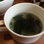 花れん - スープは、ワカメのコンソメ、濃厚で美味しいです