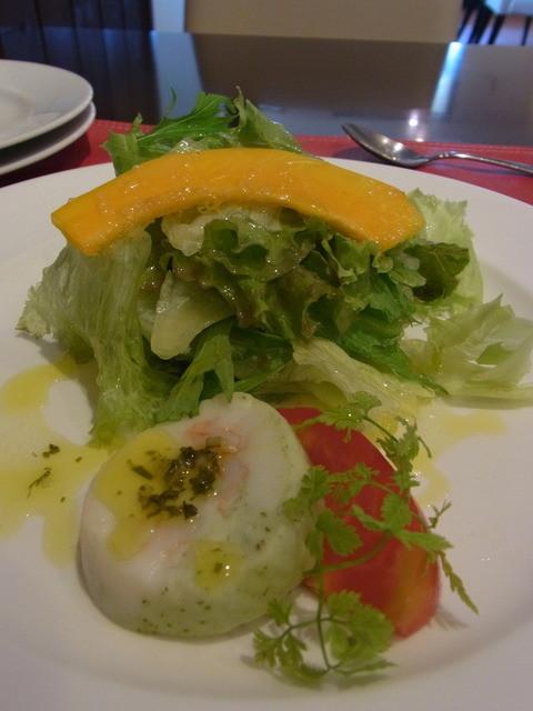 トラットリア ステッラ - パスタランチ(1296円)の前菜。白身魚と海老のテリーヌ