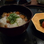 美食倶楽部 - なめ茸の雑炊と香の物(H26.10)
