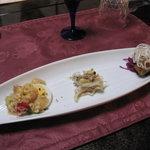 Bistro R - 前菜(オマール海老・魚の胃袋・鯛のマリネ)